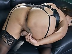 Vaniity in sexy black corset showing off her thick dick... Wanna suck 'em good?