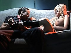 Naughty tgirl Kimber James fucking his cock with her boots