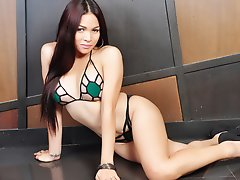 Scrumptious shemale Vitress Tamayo with Long Brunette Hair and even Longer Shapely Legs