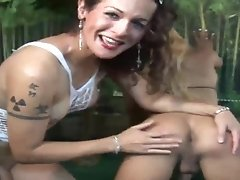 Nikki of the jungle gets Mariana Gloss to suck her wild animalistic dick