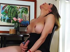 Big Cocked Blonde Tranny stroking herself with Both Hands